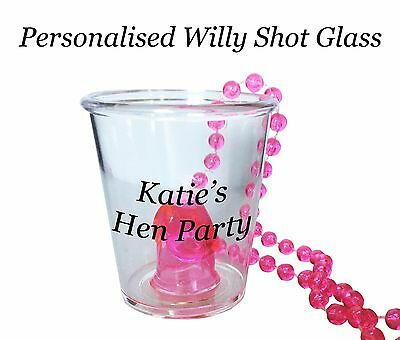 Personalised Hen night Party Do Willy Shot glass Glasses in various packs 1-50
