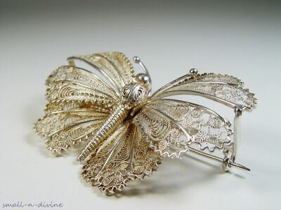 Wonderful Large Silver Gilded Butterfly Filigree Pin Brooch