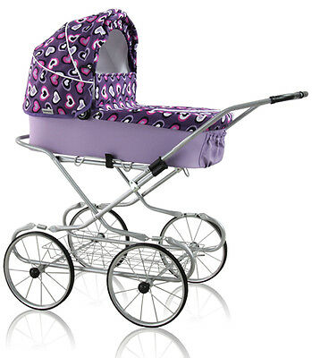 Retro style baby doll/toy pram with bedding set and basket for toys, purple