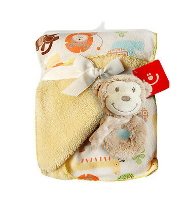 """Baby Gift Set-double layer blanket with soft rattle, unisex, 76(30"""") x 102 (40"""")"""