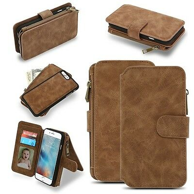 Genuine Leather Magnetic Flip Card Wallet Cover Case For Apple iPhone 7 Plus