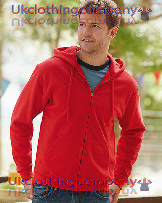 Fruit of the loom men's classic hooded sweat Jacket full zip plain Adult Hoodie