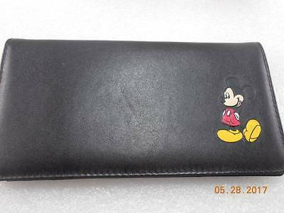 Mickey Mouse Black Leather Checkbook Cover FREE SHIPPING Fast!