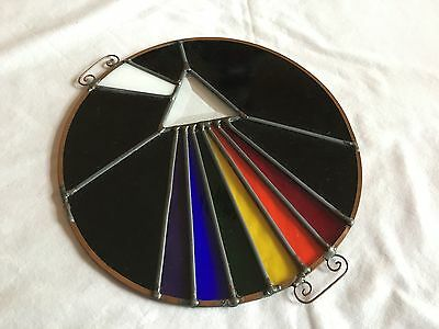 RARE Pink Floyd Dark Side of the Moon Stained Glass Sun Catcher Light Spectrum