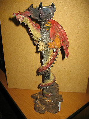 "Red Dragon Candle Stick Holder Figurine 12"" Tall"