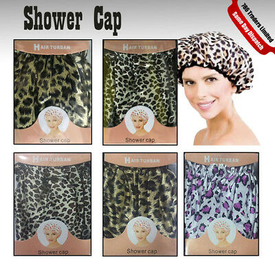New Reusable Bath Shower Caps Assorted Clear Plastic Head Hair Cover Salon Cap