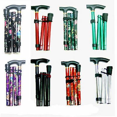 Easy Adjustable Folding Cane Flower Style & Plain Design Walking Stick UK Seller