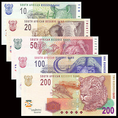 South Africa 5 PCS Set 10,20,50,100,200 Rand,UNC