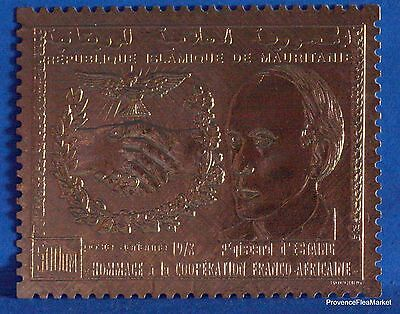 GISCARD D ESTAING  TIMBRE MAURITANIE EN  OR LUXE ** Yt PA185  88M498