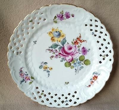 Antique Continental Kpm Berlin Porcelain Pierced Plate Dresden Sprays Hand Paint