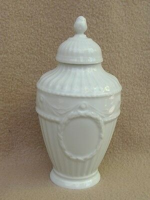 Antique Continental Kpm Berlin Blanc De Chine Porcelain Lidded Vase / Tea Caddy