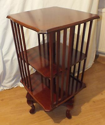 antique vintage revolving rotating bookcase queen anne style medium wood tone