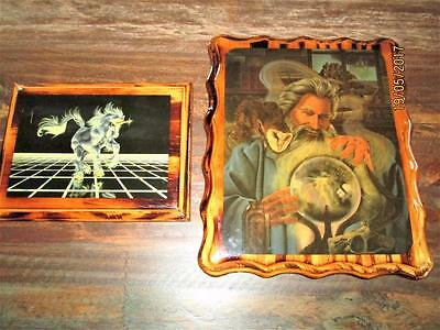 2 Vintage Fantasy Wizards And Unicorn Wooden Pictures Wall Hangings