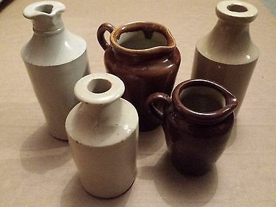Collection of five stoneware earthenware glazed pots and jugs