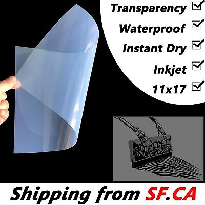 "11"" x 17"",25 sheets,Premium Waterproof Instant Dry Inkjet Transparency Film"