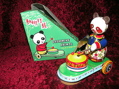 Panda  BEAR MS565 plays drums  NEW Toy From Red China from 1970s VTG Mint