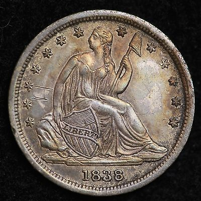 1838 Seated Liberty Dime UNC Details FREE SHIPPING E189 AMT