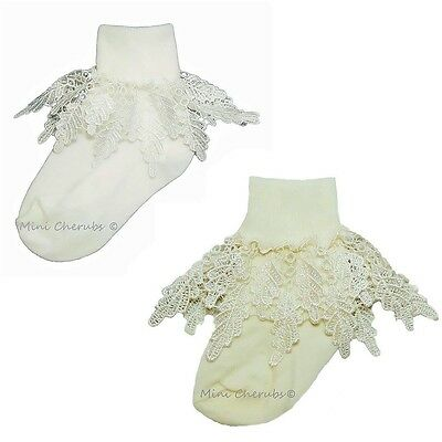 Baby Girls White Or Ivory Frilly Leaf Lace Plain Baby Socks Christening Occasion