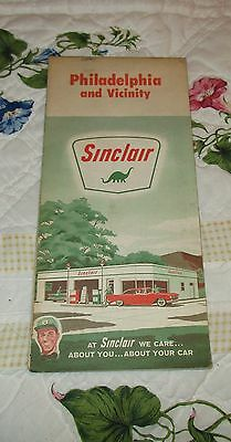 Vintage 1950's SINCLAIR GAS Gasoline Station Road Street Map Philadelphia PA
