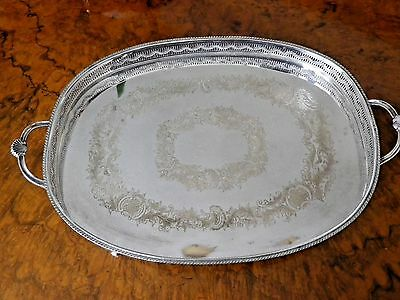 Good Size Vintage Silver Plate Gallery Tray with Two Handles