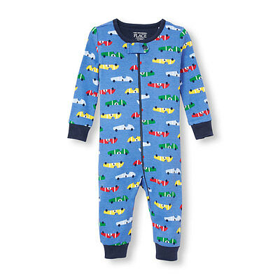 NWT The Children's Place Boy Blue Race Cars Romper Stretchie Sleeper Pajamas 2T