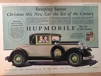 2 Page Hupmobile 1928 Old Car Ad