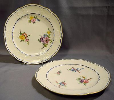 Pair of Antique Sevres Flower Painted Plates ~ Dated 1777 & 1779 ~ Embossed Rim