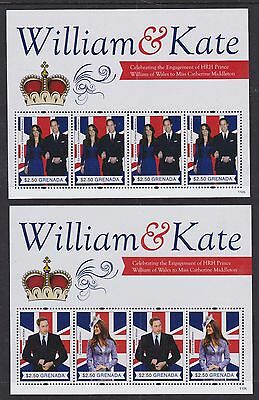 Grenada 2011 Mint MNH 2 Minisheets HRH William & Kate Engagement Celebration