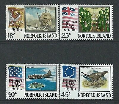 Norfolk Island - #194-#197 - Usa Bicentennial Set (1976) Mnh