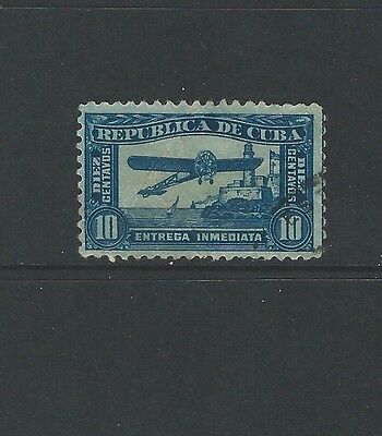 1CUBA - 10 centavos BLUE SPECIAL DELIVERY USED STAMP (1914)