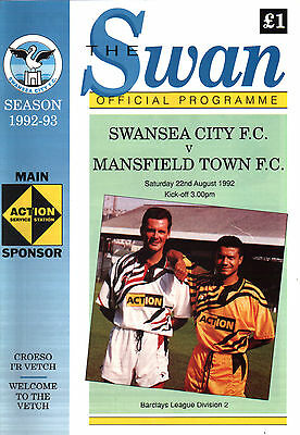 1992/93 Swansea City v Mansfield Town, Division 2, PERFECT CONDITION