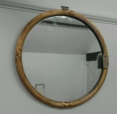Edwardian circular reeded mirror - antique gold