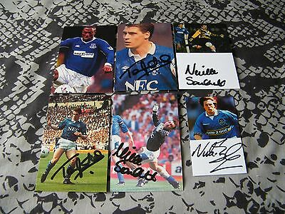 Set Of Six Signed Everton Cards