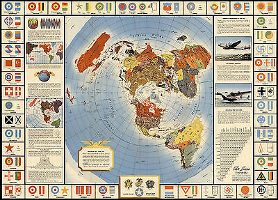 Map Global War and Peace Azimuthal Equidistant North Polar Projection Flat Earth