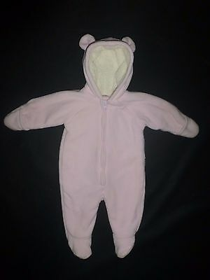 Old Navy Baby Girls Pink Bear Hooded Fleece Bunting Snowsuit 0-3 Months