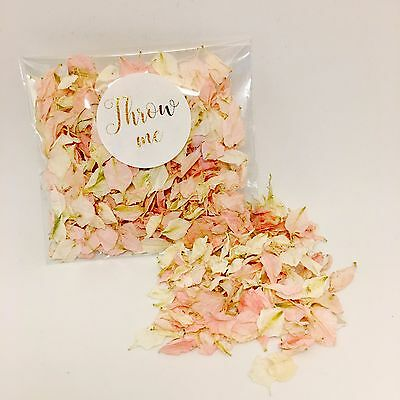 Pale pink & white wedding confetti - biodegradable flower petals - gold throw me