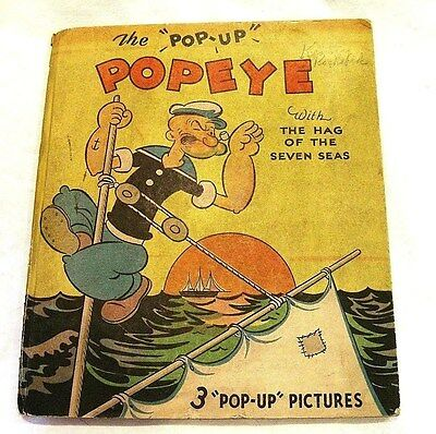 RARE 1935 ~ POPEYE with The Hag of the Seven Seas ~ POP UP BOOK  !