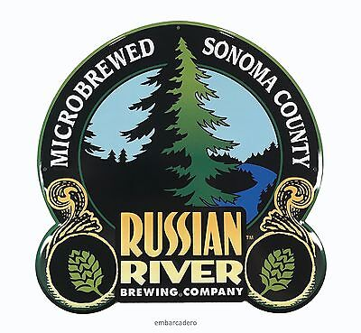 RUSSIAN RIVER BREWING CO Logo Metal Tacker Sign 12in Brewery