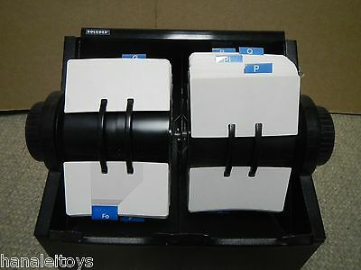 Vintage Double Rolodex Large Metal File Rare Blank 2 1/4 x 4 inch Cards Included