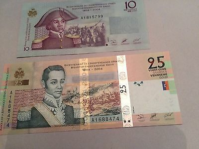 Haiti 10 And 25 Gourde Notes 2004 UNC