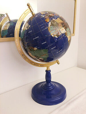 Semi-precious stones  World Globe with Lapis