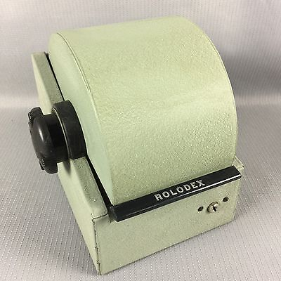 Vintage Rolodex 2254D Rotary Index Card File Green Color No Key Movie Play Prop?