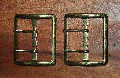 "TWO VINTAGE 1980's Dead Stock Original WATERBURY 2"" BRASS BELT BUCKLE - USA MADE"