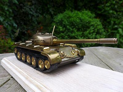 Vintage Brass Model Tank Ornament on Wooden Stand Very Heavy Military Hobby WW2?