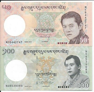 Bhutan 50 and 100 Ngultrum Uncirculated Notes P31b, P32b