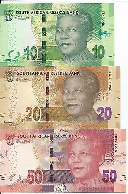 South Africa 10, 20, 50 Rand, Uncirculated Notes (2014)