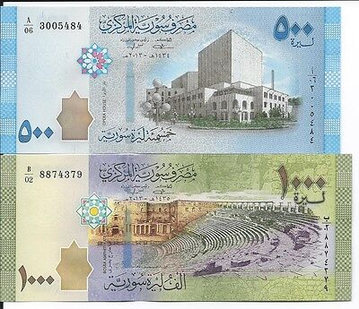 Syria 500, 1,000 Pounds Uncirculated Banknotes