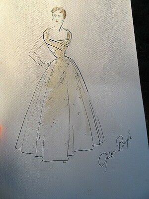 Antique Original Signed Fashion Design Drawing By Gibson Bayh Gump's SF CA