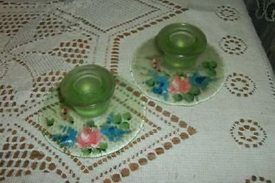 CHIC 20s DEPRESSION VASELINE GLASS HP ROSES CANDLE HOLDERS SHABBY YES THEY GLOW