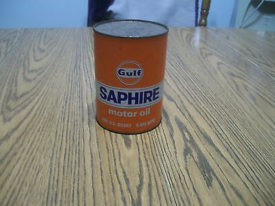 gulf saphire motor oil can one quart unopened orange can  cardboard